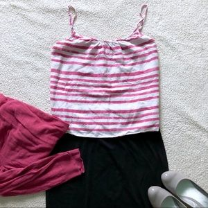 LOFT Pink/White Striped Top with Ruched Front